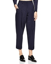 Dkny Cuffed Pinstripe Ankle Pants Classic Navy