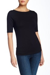 Catherine Malandrino Elbow Sleeve Boatneck Tee Black