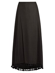 Figue Matador Tassel Embellished Silk Blend Skirt Black
