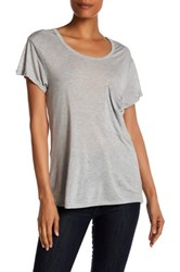 Haute Hippie Solid Rolled Pocket Tee Gray