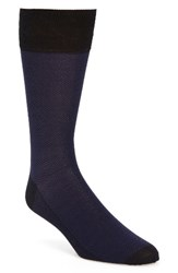 John W. Nordstromr Men's Big And Tall Nordstrom Herringbone Socks Navy Blue Estate