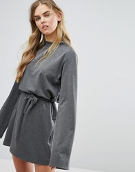 House Of Sunny Extra Long Sleeved Top With Tie Waist Grey