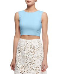 Oscar De La Renta Sleeveless Jewel Neck Crop Blouse Wedgewood