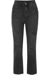 Ksubi Castor Oil Cropped Distressed High Rise Slim Leg Jeans Black