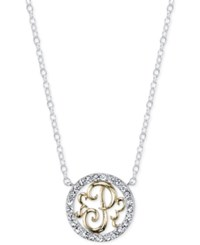 Unwritten Initial 'P' Pendant Necklace With Crystal Pave Circle In Sterling Silver And Gold Flash Two Tone