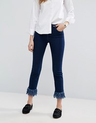 Warehouse Frayed Hem Cropped Jeans Mid Wash Blue