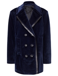 Alexander Wang Galaxy Blue Faux Fur Pea Coat