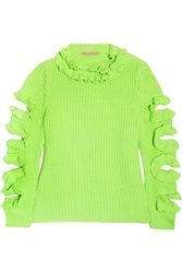 Christopher Kane Cutout Ruffled Neon Cashmere Sweater Green