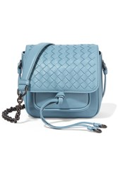 Bottega Veneta Saddle Mini Intrecciato Leather Shoulder Bag Light Blue