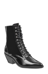 Marc Fisher Ltd Lace Up Boot Black Leather