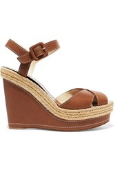 Christian Louboutin Almeria 120 Leather Espadrille Wedge Sandals Brown