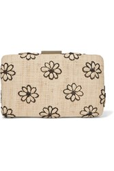 Kayu Daisy Embroidered Woven Straw Clutch Beige