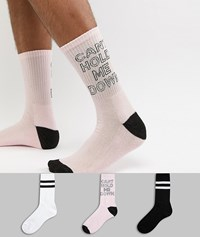 New Look Socks With Can't Hold Me Down Print 3 Pack Multi