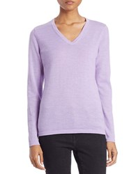 Lord And Taylor Plus Merino Wool Basic V Neck Sweater Peri Heather