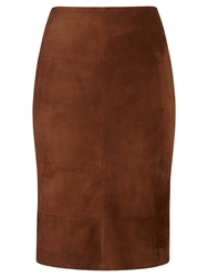Viyella Suede Pencil Skirt Brown