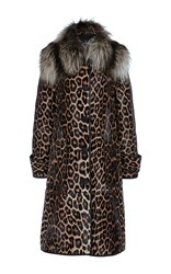 J. Mendel Fox Collared Trench Coat Animal