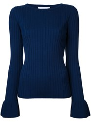 Le Ciel Bleu Frilled Sleeve Jumper Blue