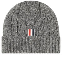 Thom Browne Aran Cable Donegal Knit Hat Grey