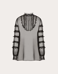 Valentino Chiffon And Lace Top Black