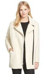 Andrew Marc New York Asymmetrical Zip Wool And Alpaca Blend Coat White