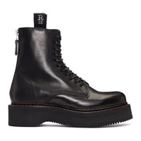 R 13 R13 Black Single Stacked Platform Lace Up Boots