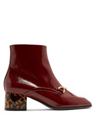 Stella Mccartney Block Heel Faux Leather Ankle Boots Burgundy