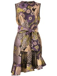 Josie Natori Floral Jacquard Asymmetric Dress 60
