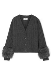 Prada Feather Trimmed Ribbed Wool And Cashmere Blend Cardigan Charcoal
