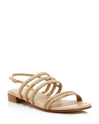 Stuart Weitzman Linedrive Braided Chain Sandals Naked Gold