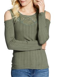 Jessica Simpson Rosarie Roundneck Long Sleeve Top Thyme