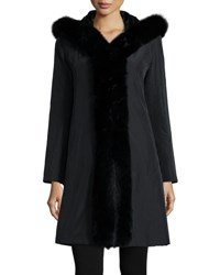 Trilogy Hooded Reversible Fur Trim Coat Black Black Black
