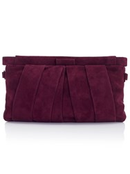 Jacques Vert Suede Clutch Bag Red