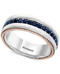 Effy Men's Sapphire Band 1 Ct. T.W. In Sterling Silver 18K Rose Gold And Black Rhodium Two Tone