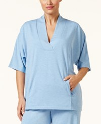 Nautica Plus Size Shawl Collar Pajama Top Blue Ice