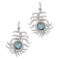 London Road 9Ct White Gold Diamond And Zircon Feather Drop Earrings Blue