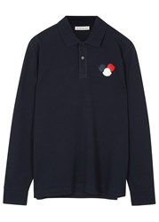 Moncler Navy Pique Cotton Polo Shirt