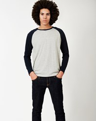 The Idle Man Long Sleeve Raglan T Shirt Grey