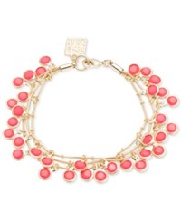Anne Klein Gold Tone Shaky Bead Layer Bracelet Coral