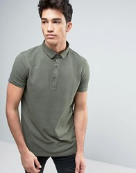 Brave Soul Polo Shirt With Bubble Effect Green
