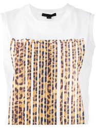 Alexander Wang Leopard Bonded Barcode Tank Top White