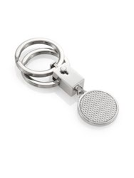 Saks Fifth Avenue Textured Diamond Pattern Key Ring Silver