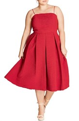 City Chic Plus Size Women's Textured Treat Fit And Flare Dress Red Scarlet