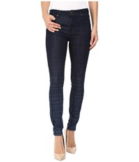 Parker Smith Ava Skinny In Dipped Plaid Dipped Plaid Women's Jeans Black