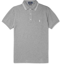 Polo Ralph Lauren Slim Fit Contrast Tipped Cotton Pique Shirt Gray