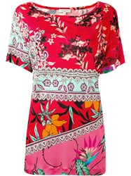 Etro Floral Paisley Print T Shirt Women Silk 48 Red