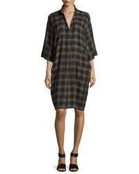 Vince Plaid Easy Pullover Cotton Dress Military