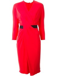 Vionnet Wrap Front Dress Red