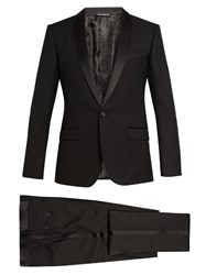 Dolce And Gabbana Shawl Collar Three Piece Wool Blend Tuxedo Black