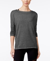 Betsey Johnson Acid Ash Open Back Long Sleeve Top Dark Grey