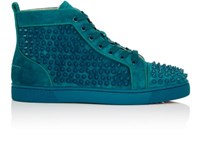 Christian Louboutin Men's Louis Flat Sneakers Light Blue